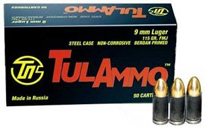 Tula 9mm 115 Grain Weight Fmj 50/1000